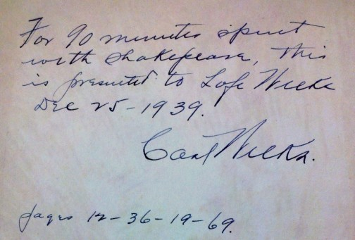 Inside the front cover is an inscription: Carl Weeks gave this book to his youngest son, Lafe, on Christmas Day, 1939.