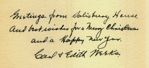Christmas greetings from Carl and Edith Weeks, after their boys had moved out of Salisbury House.