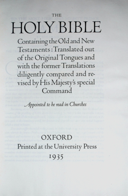 Title Page of the Oxford Bible