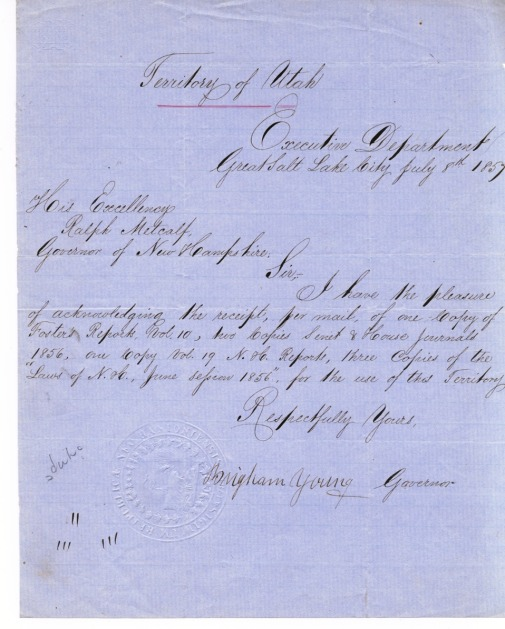 Letter signed by Brigham Young, who succeeded Joseph Smith and led the Mormon Immigrants to Utah, where he founded Salt Lake City and later become governor.