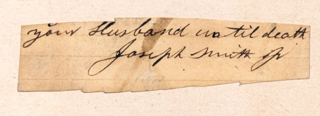 Signature of Joseph Smith, founding prophet of the Mormon Church. It is from the signature block of a letter to one of his wives.
