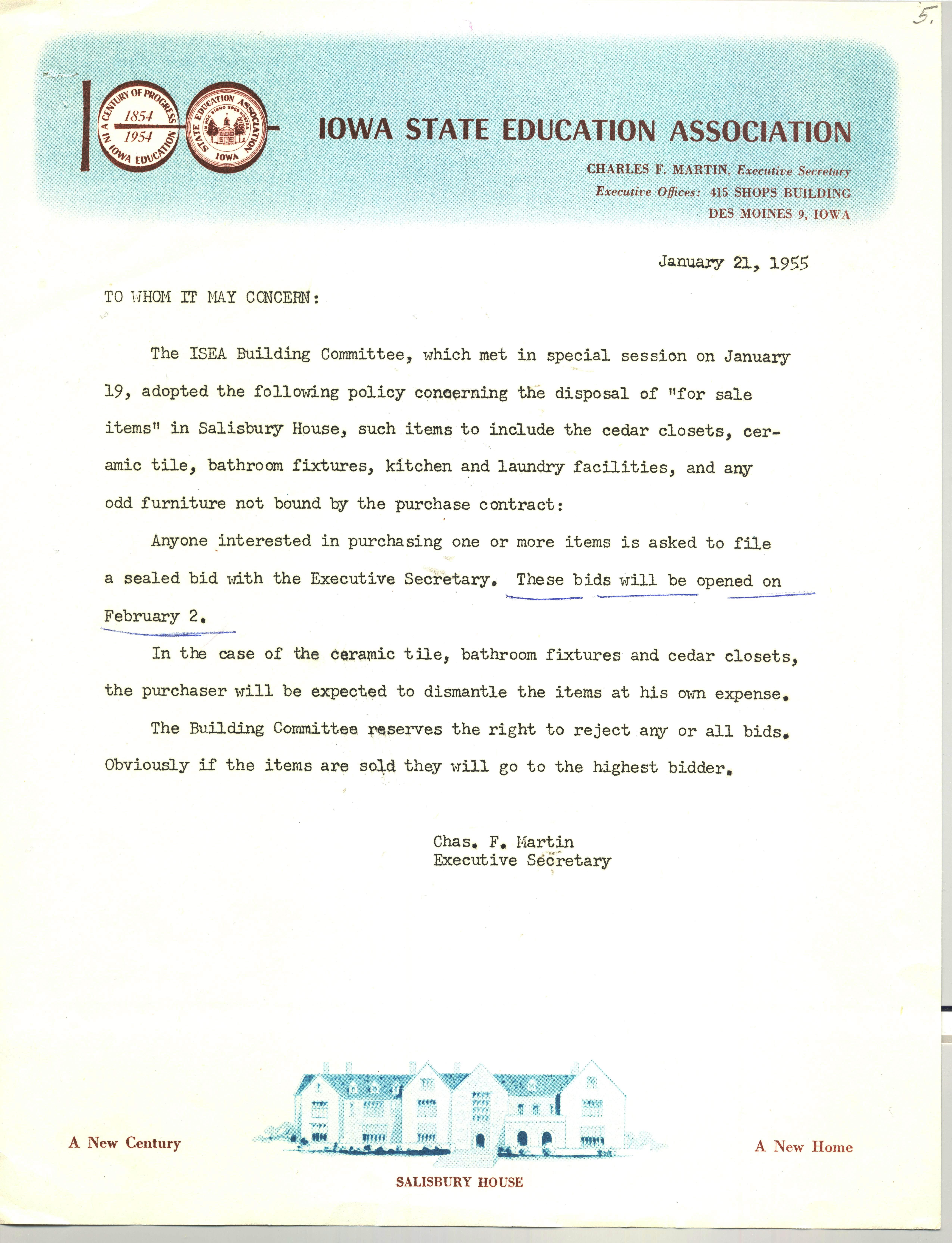 For Sale letter_Jan 1955