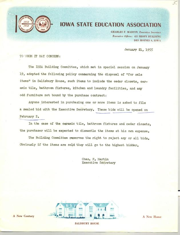 For Sale letter_Jan 1955