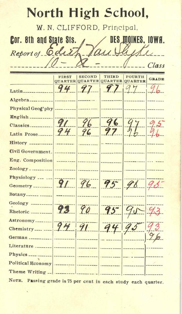 1899_Edith Van Slyke report card North High School